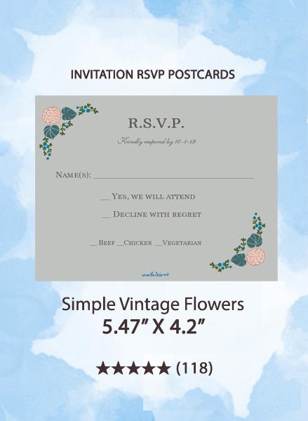 Simple Vintage Flowers - RSVP Postcards
