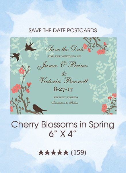 Cherry Blossoms in Spring Save the Date Postcards