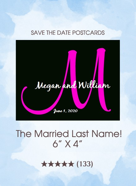 The Married Last Name Monogram Save the Date Postcards
