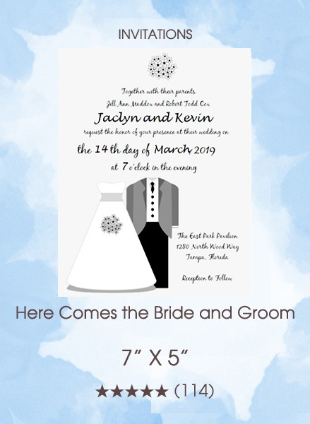 Here Comes the Bride and Groom Invitations