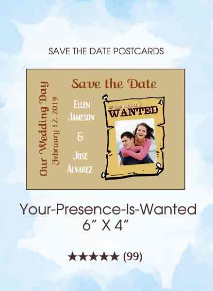 Your-Presence-Is-Wanted Save the Date Postcards
