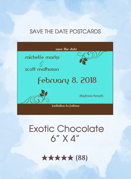 Exotic Chocolate Save the Date Postcards