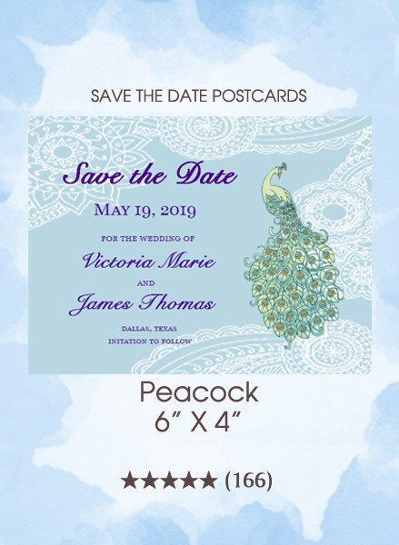 Peacock Save the Date Postcards