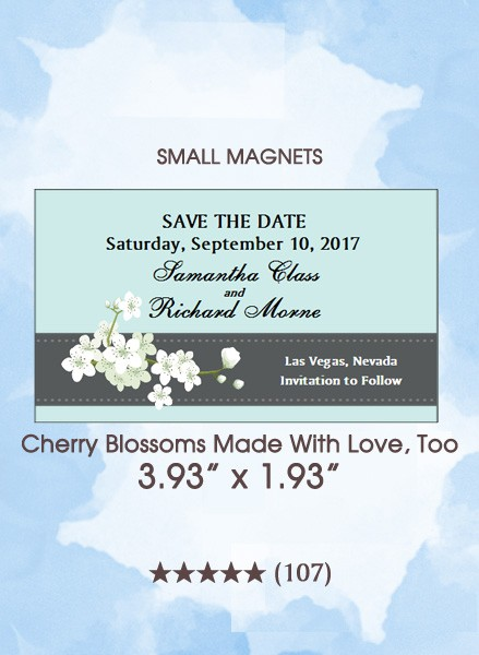 Cherry Blossoms Made With Love, Too Save the Date Small Magnets