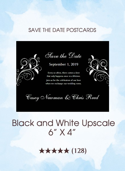 Black and White Upscale Save the Date Postcards