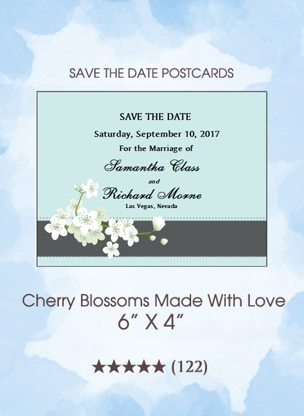 Cherry Blossoms Made With Love Save the Date Postcards
