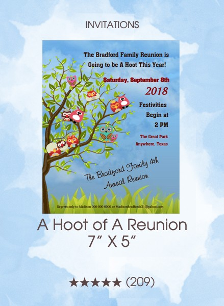 Invitations - A Hoot of A Reunion