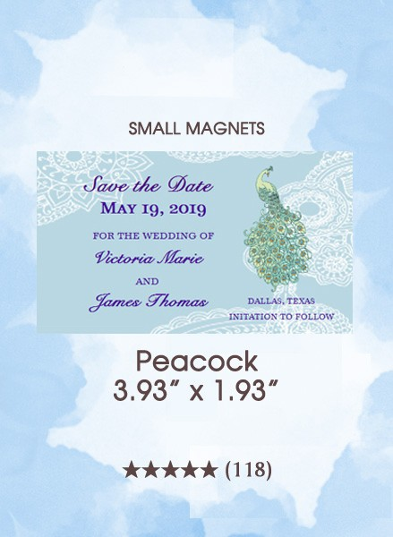 Peacock, Too Save the Date Small Magnets