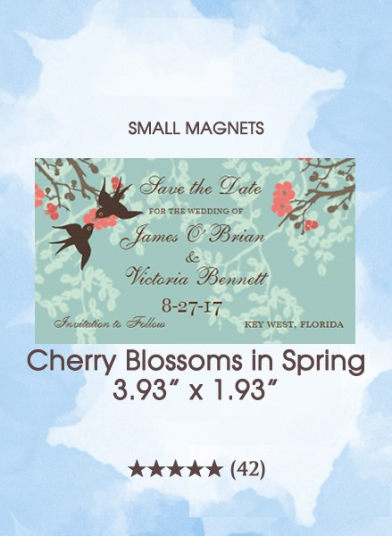 Cherry Blossoms in Spring, Too Small Save the Date Magnets