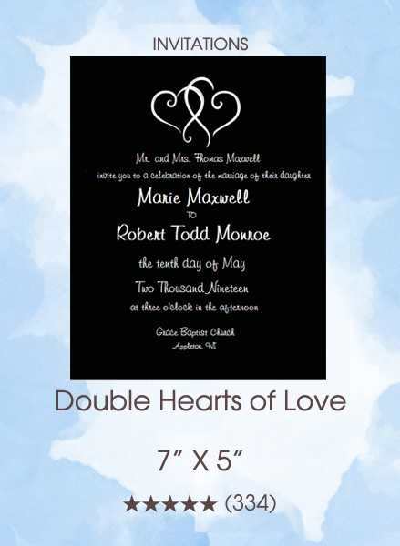 Double Hearts of Love Invitation