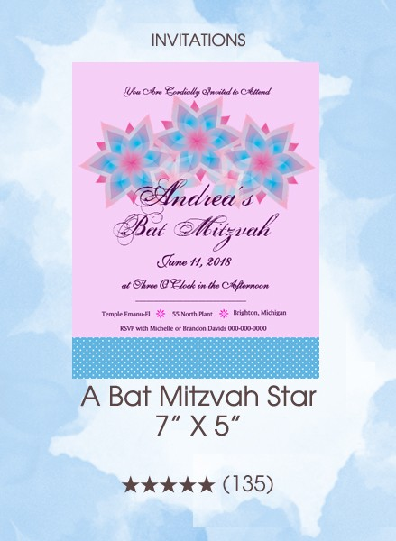 Invitations - A Bat Mitzvah Star