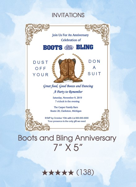 Invitations - Boots and Bling Anniversary