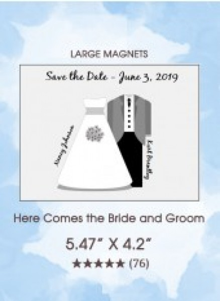 Here Comes the Bride and Groom Large Magnets