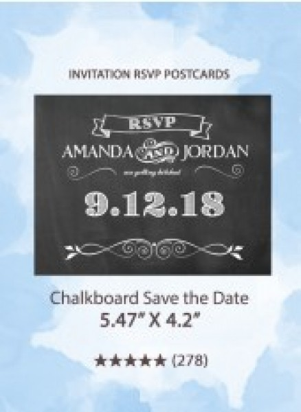 Chalkboard Save the Date - RSVP Postcards
