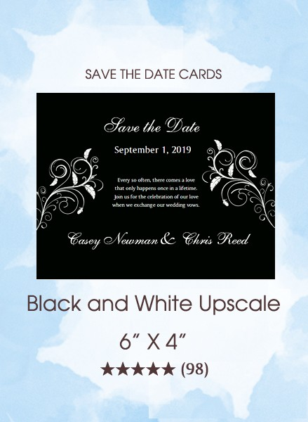 Black and White Upscale Save the Date Cards