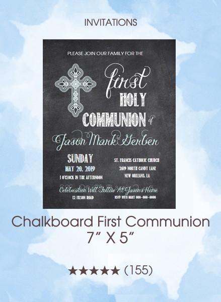 Invitations - Chalkboard First Communion (Boy)
