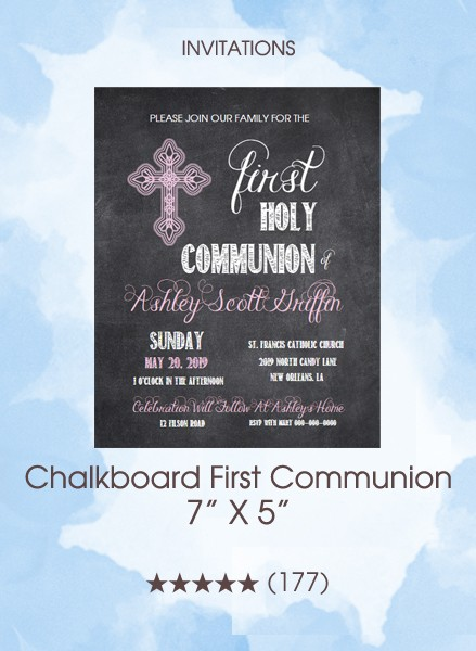 Invitations - Chalkboard First Communion