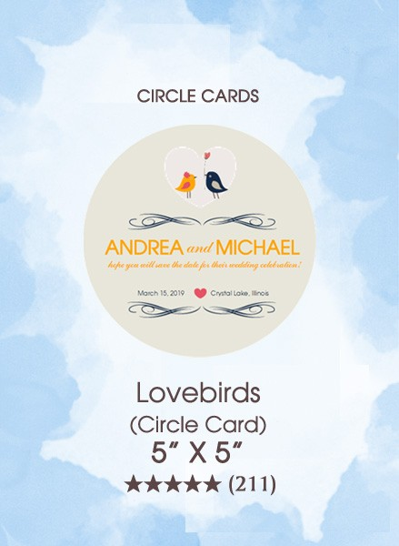 Save the Dates - Lovebirds (Circle Card)