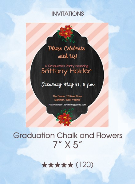 Invitations - Graduation Chalk and Flowers