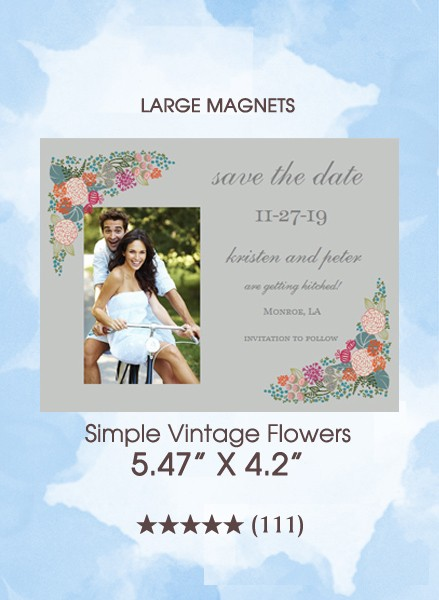Simple Vintage Flowers Save the Date Magnets