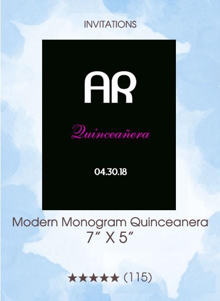 Modern Monogram Quinceanera - Invitations