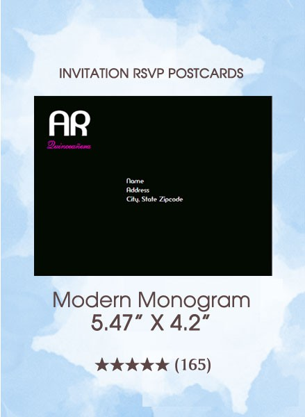 Modern Monogram Quinceanera - RSVP Postcards