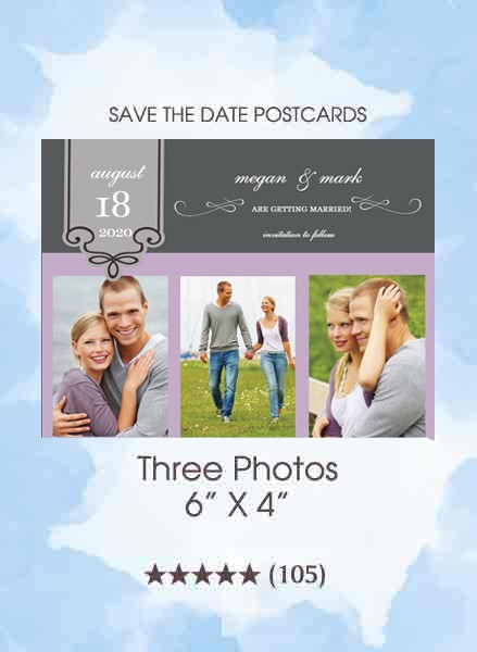 Three Photos Save the Date Postcards