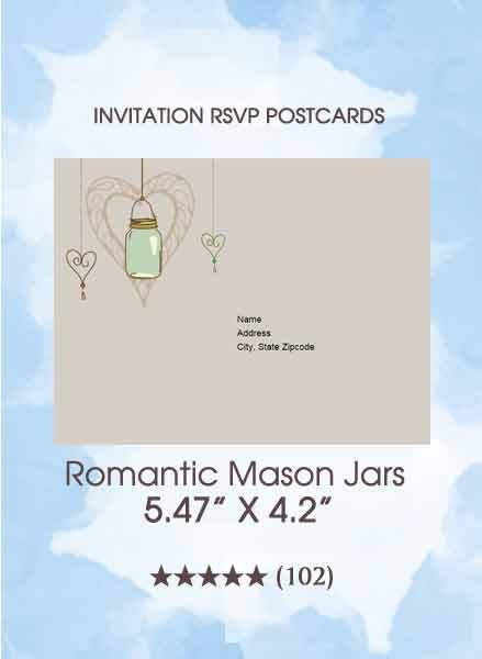 RSVP Postcards - Romantic Mason Jars