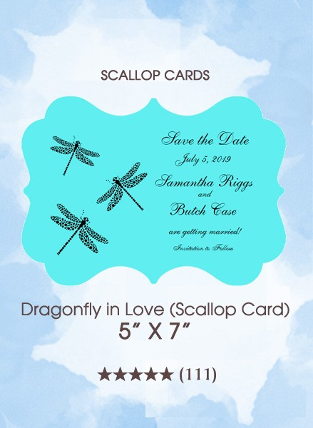 Save the Dates - Dragonfly in Love (Scallop Card)