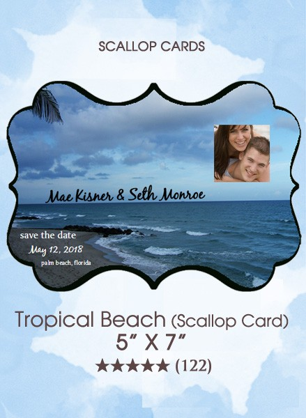 Save the Dates - Tropical Beach (Scallop Card