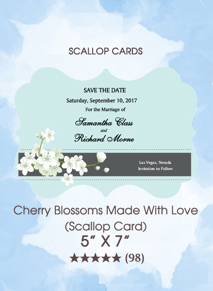 Cherry Blossoms Made With Love (Scallop Card)