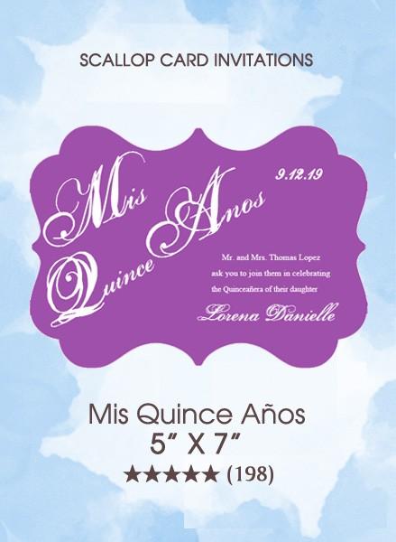 Invitations - Mis Quince Años (Scallop Card)
