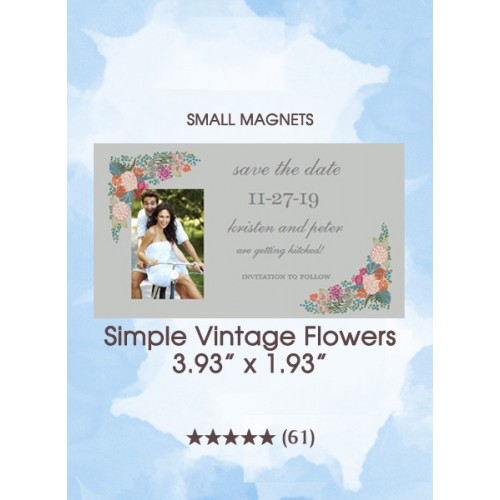 Simple Vintage Flowers, Too Save the Date Small Magnets