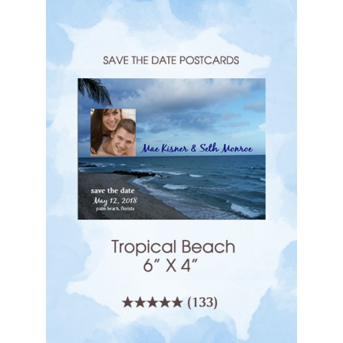 Tropical Beach Save the Date Postcards