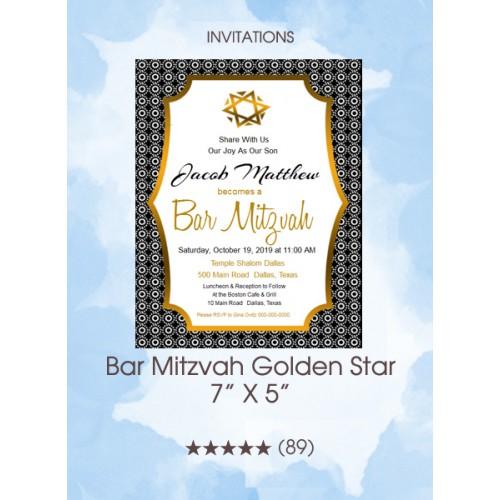Invitations - Bar Mitzvah Golden Star