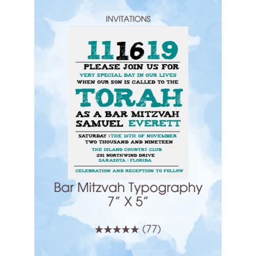 Invitations - Bar Mitzvah Typography