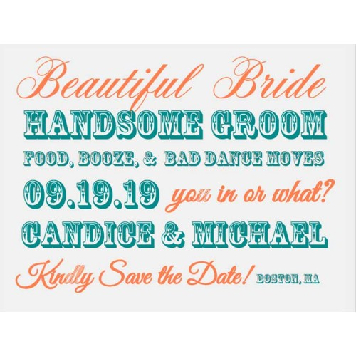 Beautiful Bride-Handsome Groom Save the Date Postcards