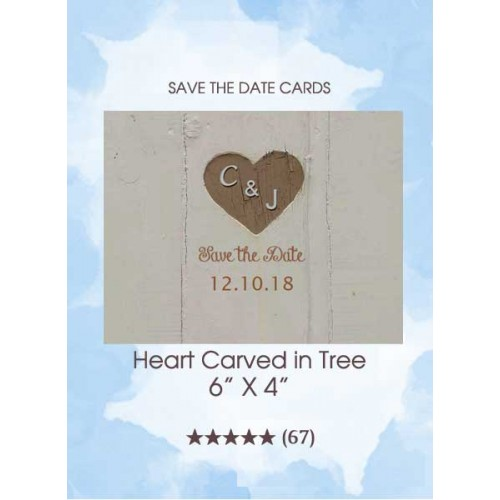 Save the Dates - Heart Carved in Tree