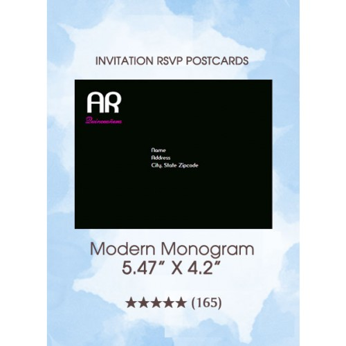 Modern Monogram Quinceanera - RSVP Postcards