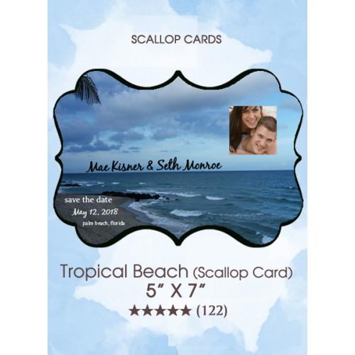 Save the Dates - Tropical Beach (Scallop Card