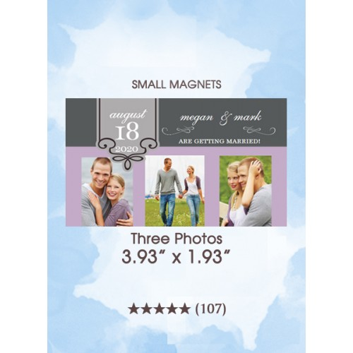 Three Photos, Too Save the Date Small Magnets