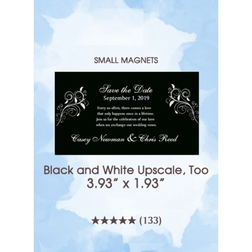 Black and White Upscale, Too Save the Date Small Magnets
