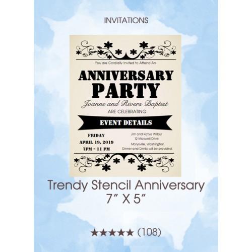 Invitations - Trendy Stencil Anniversary