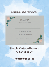 Simple Vintage Flowers - RSVP Postcards