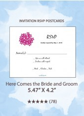Here Comes the Bride and Groom - RSVP Postcards