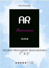 Modern Monogram Quinceanera - Invitations