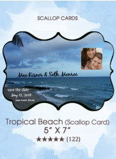 Save the Dates - Tropical Beach (Scallop Card)